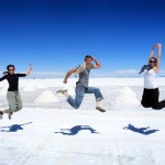 Robert Brodey jumps for Joy with Swedish travellers, Anna and Linda